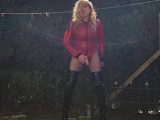 Red latex amp black hooker boots suleika...