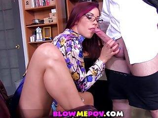 Blow me pov naughty secretary foot fetish blowjob...
