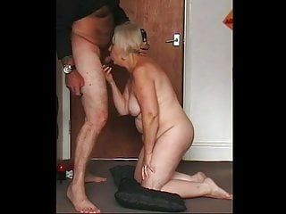 Granny Naked on Her Knees Again Sucking Cock
