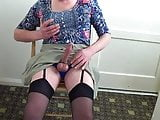 Crossdressed posing & wanking
