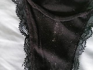 Preview of Wife -Black Thong Panties Barely Containing Labia