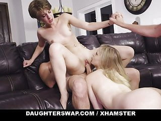 Step Daughters Swap Dad's Dick And Cum
