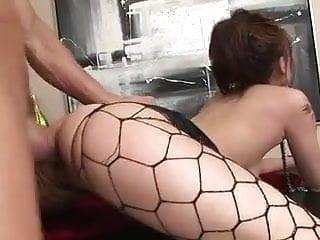 Asian pierced nipples stockings and cum shot...