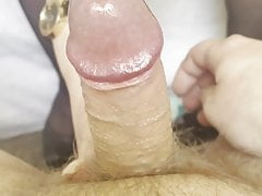 Sensitive cock handjob by family friend