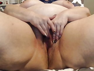 Amateur BBW mature milf masturbates close-up