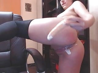 Black stocking - dildo in the ass