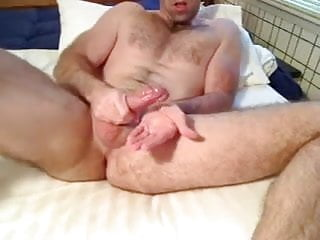 Daddy fingers his ass strokes...