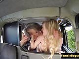 British fishnet cabbie fingering and licking