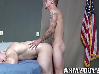 Buff army homo gives an amazing blowjob before barebacking