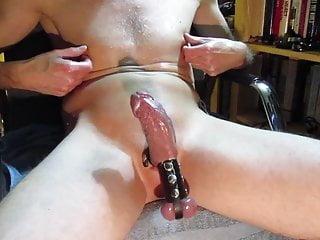 Horny nipple and play cock hard