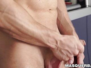 Inked bald hunk David Boss teasing his throbbing cock solo