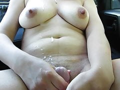 HJ on big tits in car