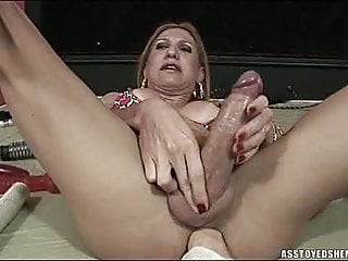 Sex Toy Shemale Solo Shemale Big Cock Shemale video: Ass toyed shemale cums