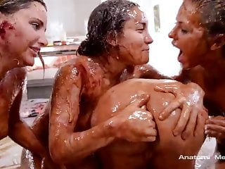 Four sluts playing with food