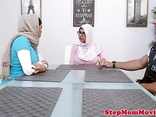 Muslim stepmom licking beautiful teen all through doggystyle