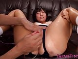 Assfucked tiny japanese teen squirts during toyplay
