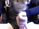 Cougar CD in Leather Cums Hard