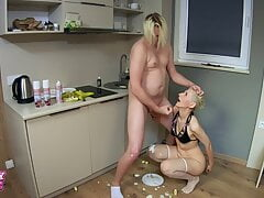 Oops! - Dirty Kinky Blowjob with banana and cream in his ass