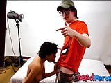 Curly haired ebony babe gives fake casting agent a blowjob