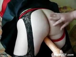 Girlfriend first time with dildo...