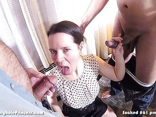 Slut a mouth men Wife's piss hotel 3 a room  in in