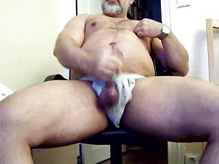 Thick daddy bear in jock strap jerking cock...