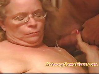 Nasty granny gets fed her...