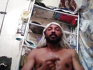 Horny Arab Man Shoots His Load All Over His Room