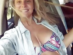 Busty Nastya. Big tits in a car. Best russian boobs.