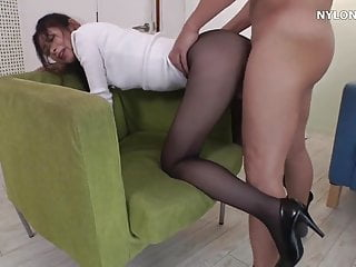 Neighbour heels in pantyhose high heels...