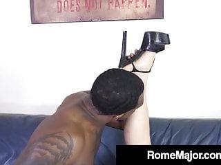 Ebony Bull Rome Main Stuffs Nyomi Star's Asian Asshole!