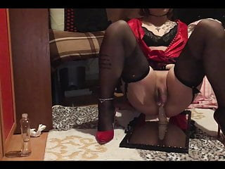 Sexy Blonde Sissy Red Lingerie Stocking Femboy Handsfree Cum