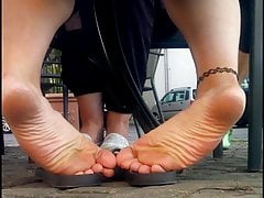 Candid girls feet and soles outdoor