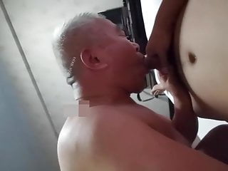 Chinese grandpa sucks cock, rims ass and gets fucked