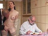 stranger fuck a girl in front of old man cuckold for money