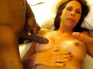Milf sucking 2 cocks & cumshot on her boobs