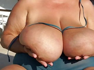 up Tits saggy Huge Granny oiled