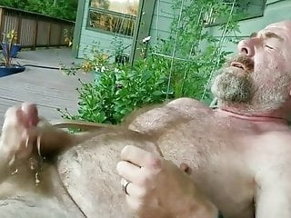 Hairy bearded daddy cum outdoors...