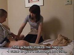 Japanese hotel massage exposing erection for new masseuse