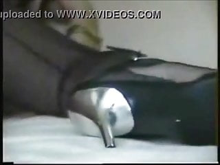 Dirty granny in high heels showing her anal contraction