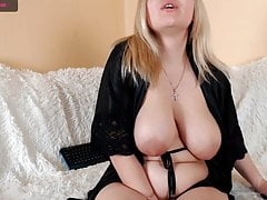 Blonde caresses herself on webcam