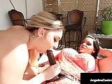 Hot BBW Angelina Castro StrapOn Fucks Plump Pussy Nina Kayy!