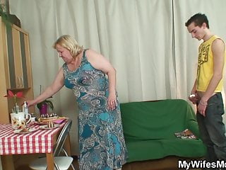 Big belly mother in-law sucks and rides his young cock