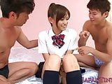 Japanese beauty dicksucking while queening