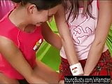 Horny young busty lesbians toying pussies