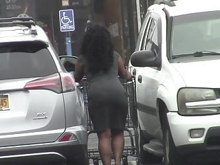 candid - Big Black BOOTY in tight dress