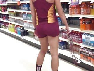 At A Female  Athlete On Supermarket! The Creeping