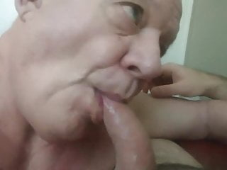 Lovely bald grandpa worships cock