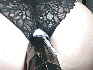 Fucked by big black dildo & Huge creampie in black panties