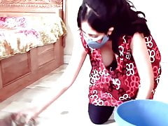 Kannada girl with big boobs is cleaning her home